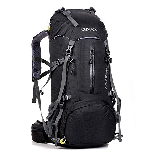 ONEPACK 70L Internal Frame Hiking Backpack with Rainfly (65+5L) Backpacking Bag with Waterproof Rain Cover for Mountaineering Outdoor Travel (70L Black)