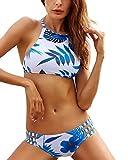 MOOSKINI Womens Push up Padded Bikini Floral Printing Bottom Swimsuit 2 Piece (FBA Optional) (L(US Size 6-8), B822)
