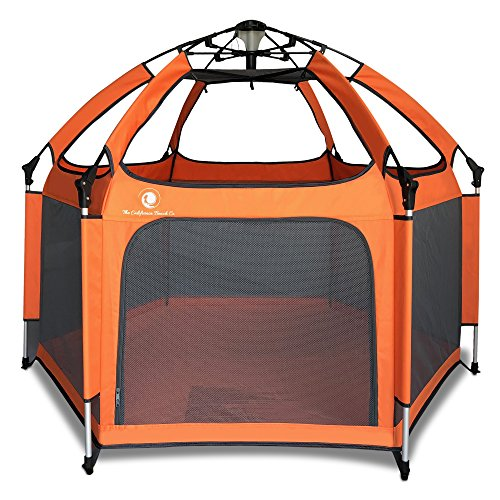 Outdoor Playpen (Pop 'N Go - The World's Best Kids Playpen - Lightweight & Portable - For Inside or Outdoor Use - Safety Locks Keep Playpen Firmly Planted and Secure - Free UV Shade with Every Order!(Orange and Gray) )