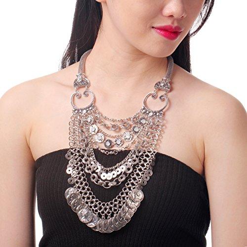 Studded Goddess Dress (HONEYJOY Bohemia Statement Sliver Coin Tasse Pendant Choker Collar Necklace)