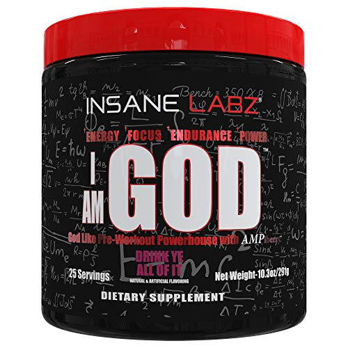 Insane Labz I am God Pre Workout, High Stim Pre Workout Powder Loaded with Creatine and DMAE Bitartrate Fueled by AMPiberry, Energy Focus Endurance Muscle Growth,25 Srvgs,Drink Ye All of It