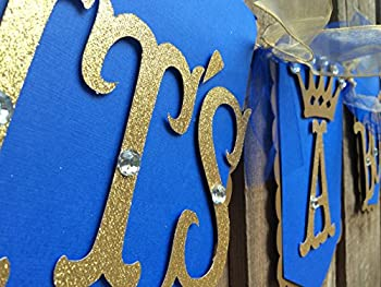 It's a boy baby shower banner Royal blue and gold Little prince banner