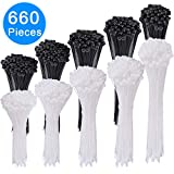 AUSTOR 660 Pieces Zip Ties White and Black Cable Zip Ties Heavy Duty Nylon Cable Ties in 4/6/ 8/10/ 12 Inches for Home Office Garage and Workshop