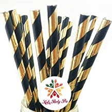 100 pcs Black Gold Foil Striped Paper Straws, Shiny Metallic Foil Stripe Party Vintage Paper Drinking Straws Bulk, Graduation Wedding Holiday New Years Eve Cake Pop Sticks