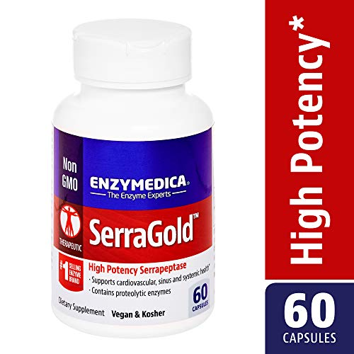 Enzymedica, SerraGold, Enzyme Supplement to Support Cardiovascular, Sinus and Immune Health, Includes Serrapeptase, Vegan, 60 Capsules (60 Servings) (FFP)