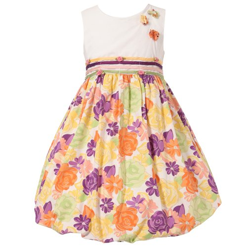 Richie House Little Girls' Colorful Floral Bubble Dress with Rosette Accents RH0950-6/7 (Rosette Bubble Dress)