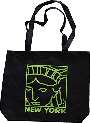 New York City Green Statue of Liberty Face Reusable Grocery Market Bag Black Nylon Tote Shoulder Shopping Bag by Mary Ellis 17.5