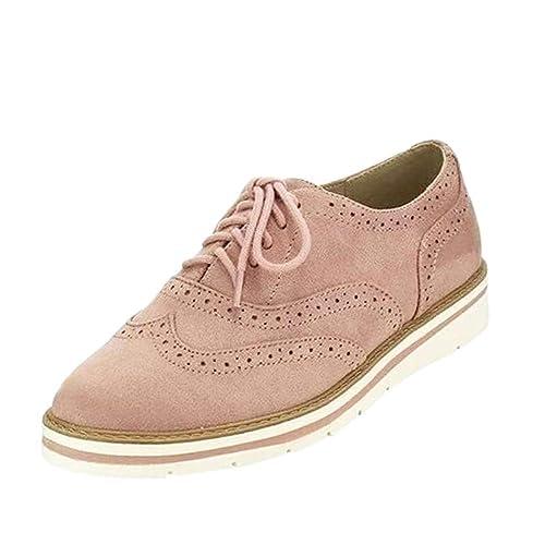 6f16b018d897b Huatime Faux Suede Brogues Shoes Women - Ladies Pumps Lace Up Flat Ankle Shoes  Brogue Dress
