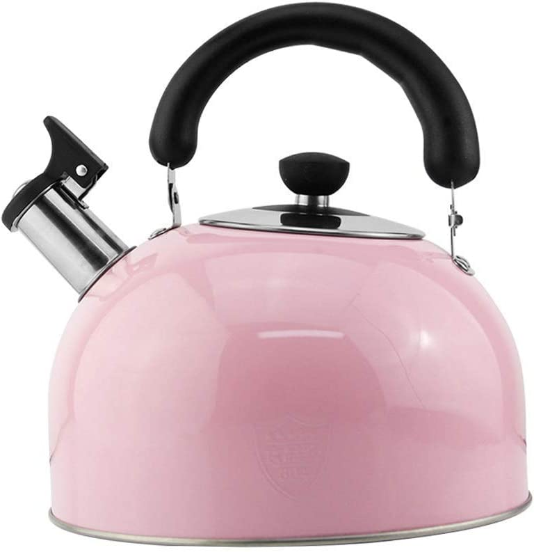 velocidad Whistling Candy Tea Kettle Stainless Steel Stovetop Teapot Gas Induction Cooker Universal KettlePink,