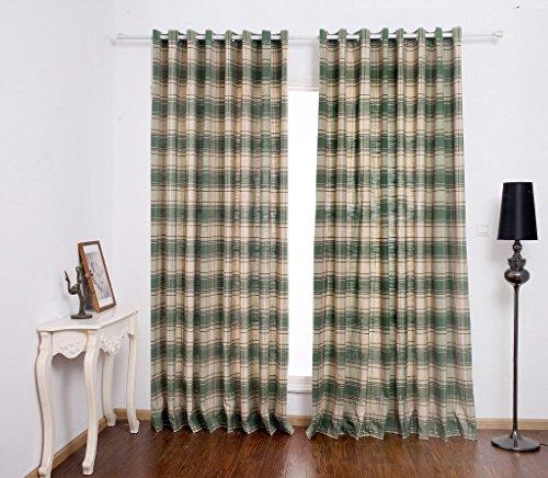 amazonde gwell elegant karo vorhang schlaufengardine blickdicht schal mit sen top qualitt gardine - Wohnzimmer Vorhang Grun