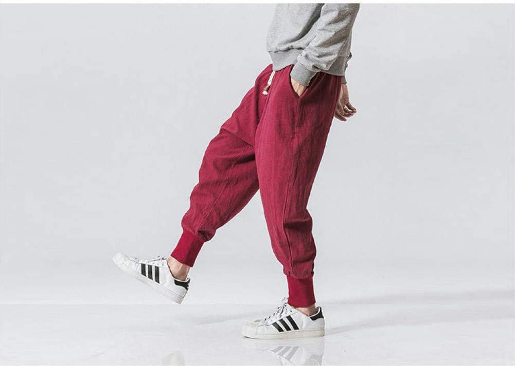 HNRLSL Cargo Harem Pants Streetwear Men Harem Pants Japanese Style Casual Linen Trouser Man Jogger Pants Chinese Baggy Pants Plus Size 5Xl Red