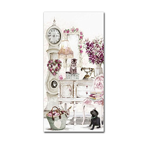 Clock Kitten by The Macneil Studio, 24x47-Inch Canvas Wall Art Art Com Canvas Clock