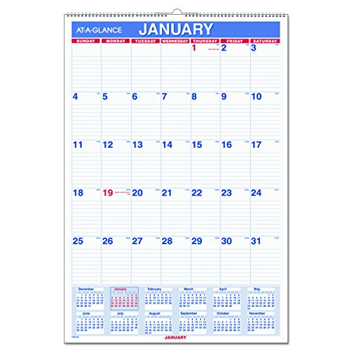 "AT-A-GLANCE Wall Calendar 2017, Monthly, 15-1/2 x 22-3/4"", Wirebound (PM328)"