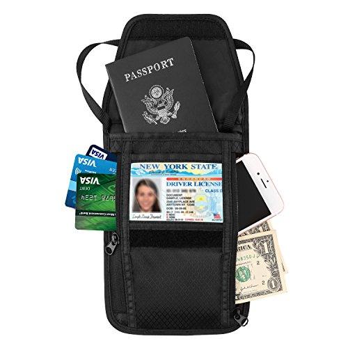 MoKo RFID Passport Holder & Neck Stash Wallet, Travel Wallet Bag Money Pouch Collapsible Passport Credit Card Holder Five Pockets Adjustable Neck Strap Women Men, Black by MoKo