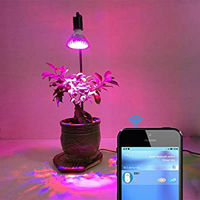 Smart Automatic 5W LED Grow Lights Stand Table Lamp with Bluetooth Wireless Timer Remote for Home Garden Indoor Plants Veg Flower by AiHitech