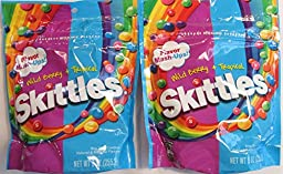Skittles Flavor Mash-ups Wild Berry and Tropical (Pack of 2 9 Ounce Bags)