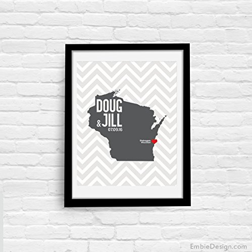 (Wisconsin or ANY State Map Print with Couple's names wedding date and location, custom colors any state or any country available wedding gift first anniversary)