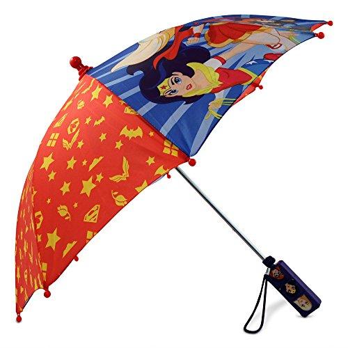 DC Comics Little Superhero Girls Character Rainwear Umbrella, red/Blue, Age 3-7