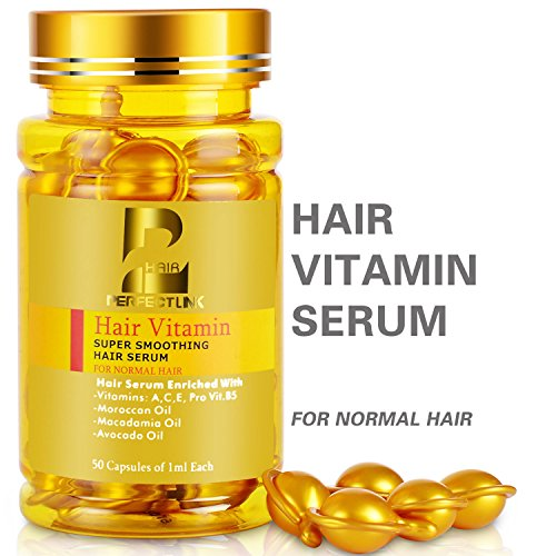 Hair Serum, Hair Vitamins with Argan Oil, Macadamia and Avocado Oils, Vit A, C, E, Pro Vit.B5, 50 Capsules Oil, Perfect Link Hair Oil for Normal Hair (Gold Capsules) by perfect link