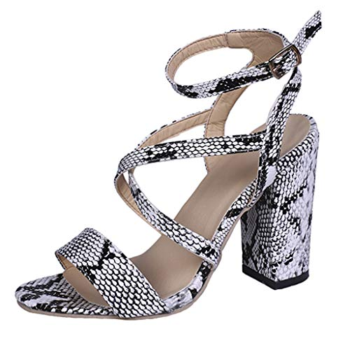 - MmNote Shoes, Women's Elegant Snake Adjustable Chunky Heel Strappy Open Toe Platform Wedge Sandals Shoes Silver