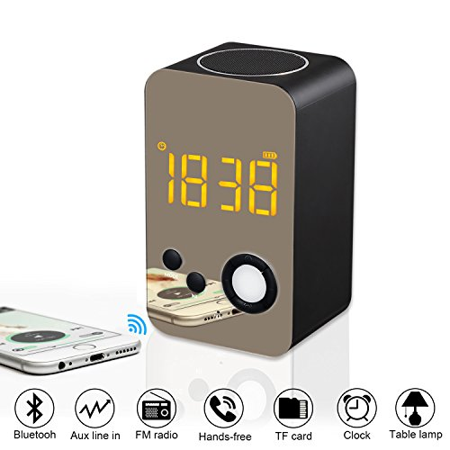 Price comparison product image Alarm Clock Bluetooth Speaker - XREXS Wireless Bluetooth Speaker with Night Light, FM Radio,  Portable Wireless Stereo Sound Speaker with LCD Screen HD Enhanced Bass,  Built-in Mic Support FM AUX TF
