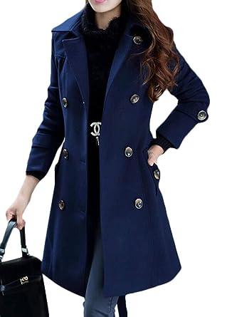 Amazon.com: CRYYU - Chaqueta de lana larga para mujer, con ...