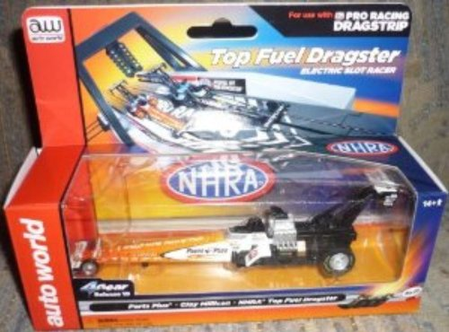 Auto World 253 Parts Plus Clay Millican NHRA Top Fuel Dragster Orange 4 Gear HO Slot Car by Auto World