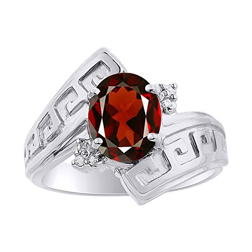Diamond & Garnet Ring Set In 14K White Gold - Greek Key Design - Color Stone Birthstone Ring