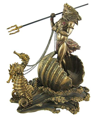 Figurine Greek God of The Sea Poseidon Wielding Trident Sea Horse Chariot Statue
