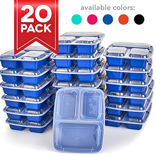 Dash DMPS203GBBU06 Reusable BPA Free Meal Prep Containers + Bento Box with with 3 Compartment Plates & Lids for Food Storage or Healthy Portion Control, 20 pack, Blue