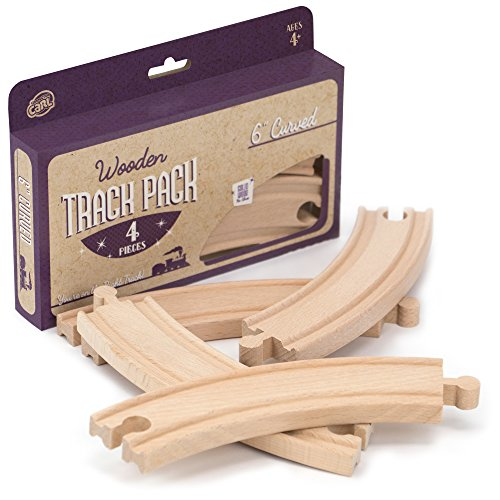 4-Piece 6 Curved Wooden Train Track Value Booster Pack - Compatible with All Major Toy Train Brands by Conductor Carl