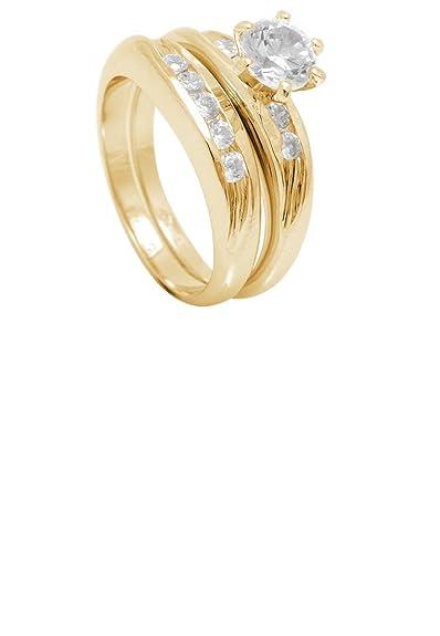 Simplemente elegante joyero de-18ct Gold con compromiso/juego de anillos de boda con Zirconia cúbico: Amazon.es: Joyería
