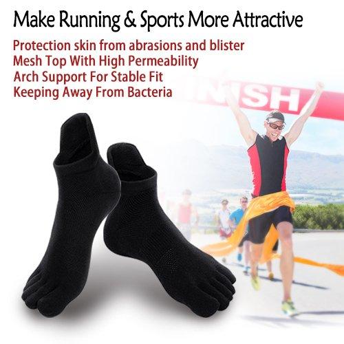 Mens No Show Toe Socks 6 Pairs Original Weight Low Cut Running Toe Socks 8-10.5 by AMAREY (Image #3)