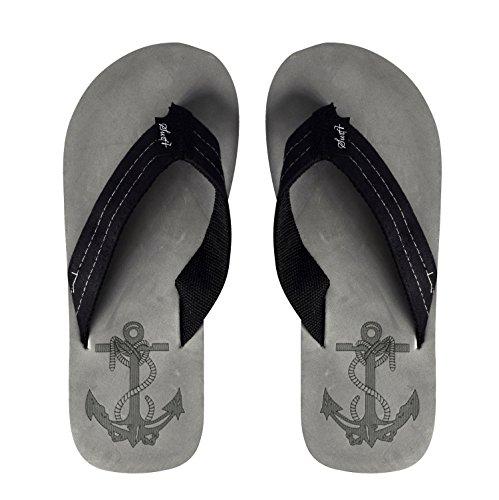 Persika Couture Mens Flip Flop Syntetisk Mocka Stappy Strand Flats Sandaler Grå Svart