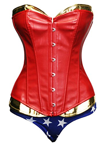 BSLINGERIE Sexy Halloween Heroine Overbust Corset with Shorts Costume (M, Boned Corset with Shorts) (Wonder Woman Boots)