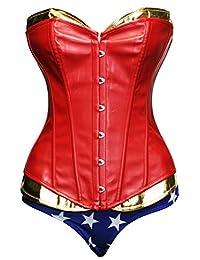 Bslingerie Women Costume Wonder Women Corset and Shorts Set