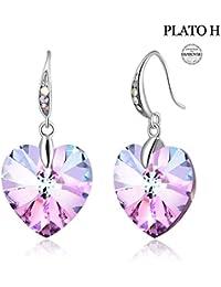 Heart Drop Hook Earring For Woman Girls PLATO H Heart Shaped Purple Crystal Stud Earring Fashion Jewelry Earring, Birthday Gifts