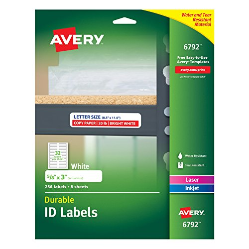 Avery Durable ID Labels, Permanent Adhesive, 5/8 x