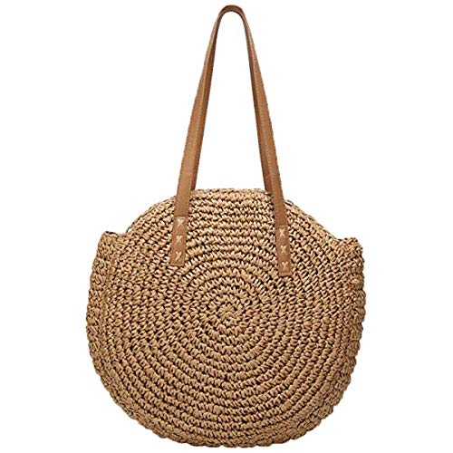 (Women's Straw Handbags Large Summer Beach Tote Woven Round Vocation Handle Shoulder Bag)