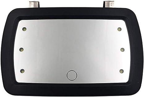 CUHAWUDBA 1 Pi/èCe Universel de Voiture Int/éRieur Miroir LED Contact Contact Maquillage Miroir Sun Visor Haute Clair Int/éRieur Miroir HD 170 X 110 Mm