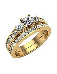 Past Present Future Princess Accented Diamond Wedding Ring Set 1.06 ctw 18K Gold (G,SI)