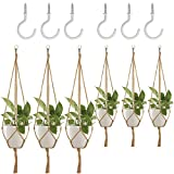 6 Pack Plant Hanger, DanziX Flower Pot Plant Holder with Ceiling Hooks for Indoor Outdoor Decorations Office Gardening, Malls, Garden Nursery Production Hanging Pots- 4 Legs