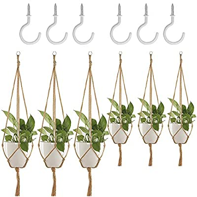 6 Pack Plant Hanger, DanziX Flower Pot Plant Holder with Ceiling Hooks for Indoor Outdoor Decorations Office Gardening, Malls, Garden Nursery Production Hanging Pots- 4 Legs: Garden & Outdoor