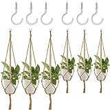 6 Pack Plant Hanger, DanziX Flower Pot Plant Holder con ganchos de techo para interiores decoraciones al aire libre Office Gardening, Malls, Garden Nursery Production Hanging Pots- 4 Patas