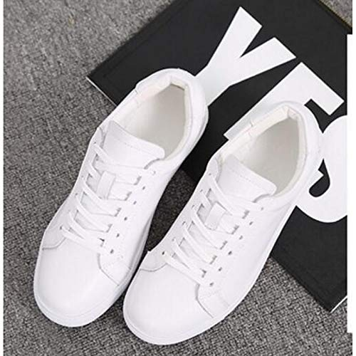 in piatto chiusa pelle Estate Scarpe da Tacco White Sneakers ZHZNVX Primavera Nero Comfort Bianco donna Nappa Punta wOqPnW4I