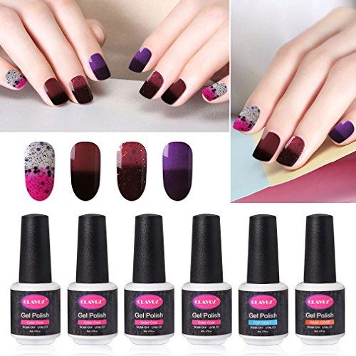 CLAVUZ Gel Nail Polish Set Soak Off Color Changing Nail Polish Base and Top Coat Manicure Nail Art Kit