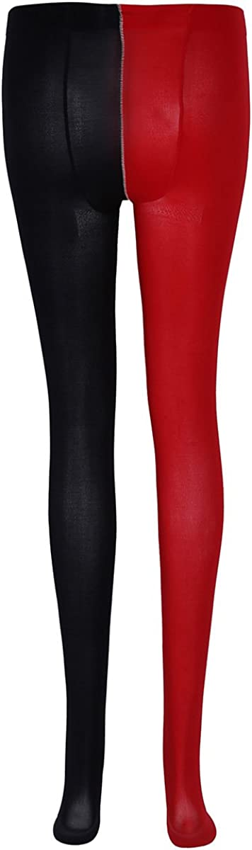 MSemis Unisex Adult Two Toned Halloween Jester Cosplay Costume Full Footed Tights Pantyhose Hosiery Stockings