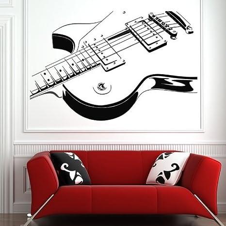 Guitarra electrica arte de pared pared adhesivos pegatinas 01 - 50cm Altura - 50cm Ancho - Negro Vinilo: Amazon.es: Coche y moto