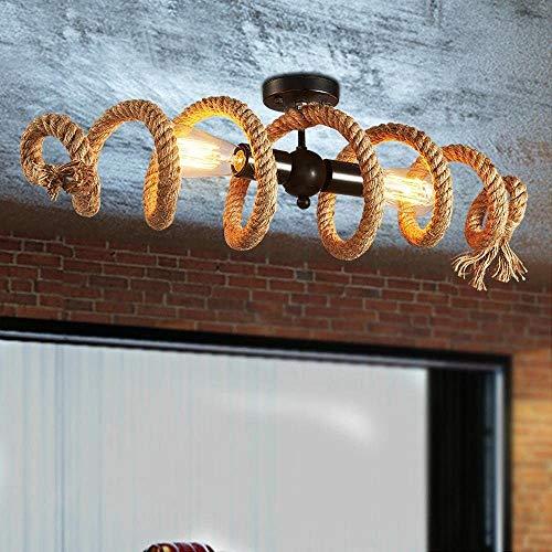 Lampara de techo de cuerda de canamo Retro, Plafon de anillo Iluminacion decorativa industrial Arana de techo de mesa de comedor 2×E27 Luz de techo de diseno en espiral, para Bar Cafe Loft Restaurant