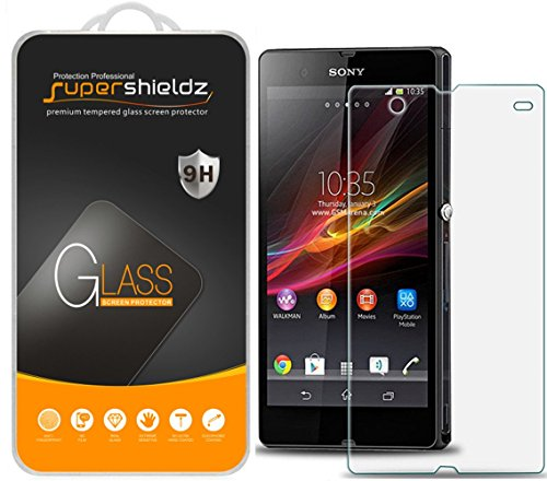 (2 Pack) Supershieldz for Sony Xperia Z Tempered Glass Screen Protector, Anti Scratch, Bubble Free (Sony Xperia Z Screen Protector)